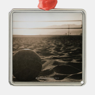 Volleyball in the Sand Silver-Colored Square Ornament