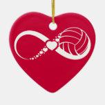 Volleyball Infinite Love Ceramic Heart Ornament