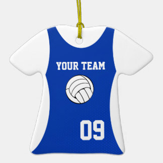 Volleyball Jersey Customizable Blue Christmas Ornaments