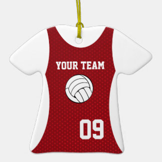 Volleyball Jersey Customizable Red Christmas Tree Ornaments