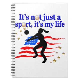 VOLLEYBALL LIFE USA FLAG DESIGN NOTE BOOKS
