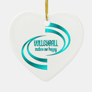Volleyball Makes Me Happy Ceramic Heart Ornament