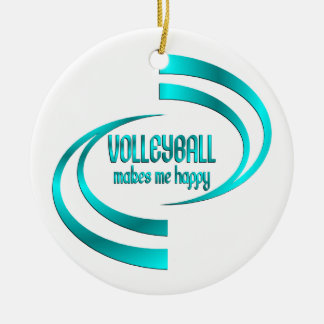 Volleyball Makes Me Happy Round Ceramic Ornament