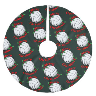 Volleyball Merry Christmas Brushed Polyester Tree Skirt