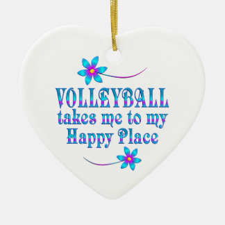 Volleyball My Happy Place Ceramic Heart Ornament