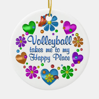 Volleyball My Happy Place Ceramic Ornament