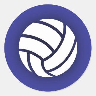 Volleyball Navy Blue Round Sticker