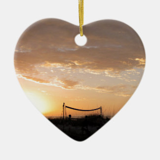 Volleyball Net Sunset Beach Ceramic Heart Ornament