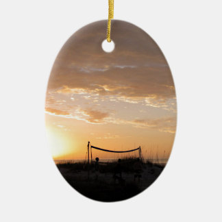 Volleyball Net Sunset Beach Ceramic Oval Ornament