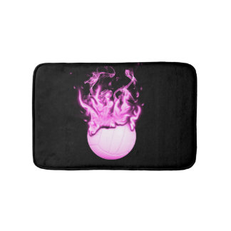 Volleyball on fire bath mat