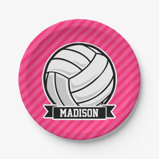 Volleyball on Neon Pink Stripes 7 Inch Paper Plate