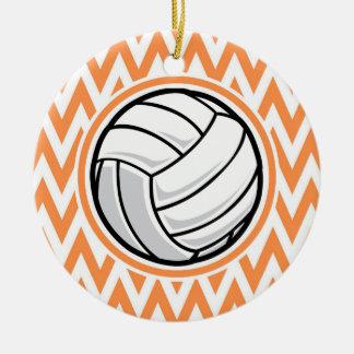 Volleyball; Orange and White Chevron Ceramic Ornament