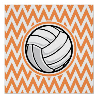 Volleyball Orange and White Chevron Posters