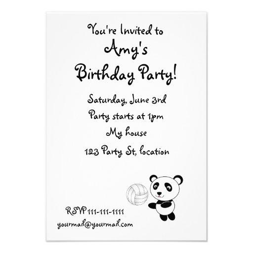 Volleyball panda custom invitations