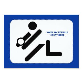 "Volleyball player black, white, blue icon custom 5"" x 7"" invitation card"