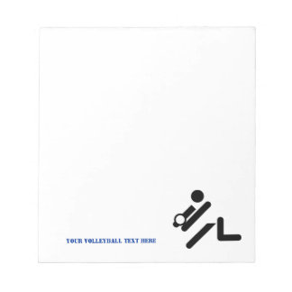 Volleyball player black, white, blue icon custom notepad