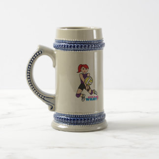 Volleyball Player - Light/Red Beer Stein
