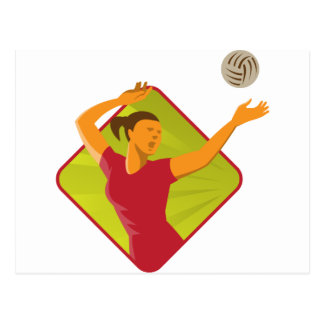 Volleyball Player Spike Ball Retro Postcard