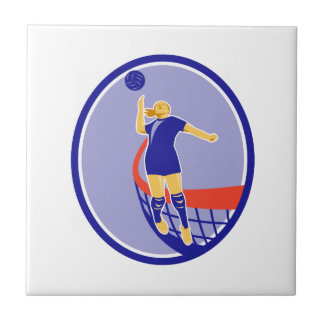 Volleyball Player Spiking Ball Oval Retro Tile