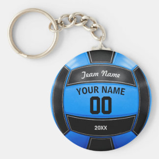 Volleyball Player's Name Year Team Black Blue Basic Round Button Keychain