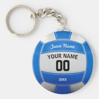 Volleyball Player's Name Year Team Blue Basic Round Button Keychain