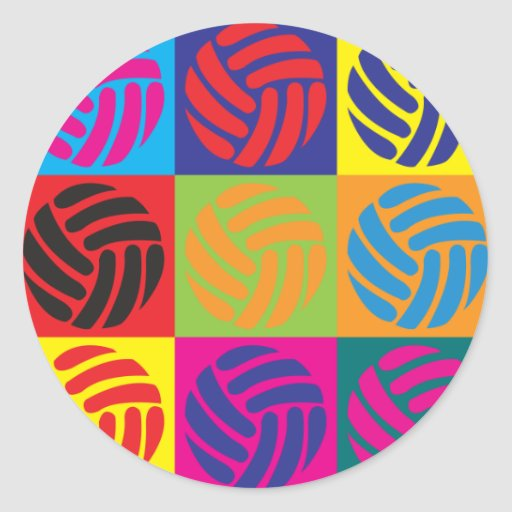 Volleyball Pop Art Round Sticker