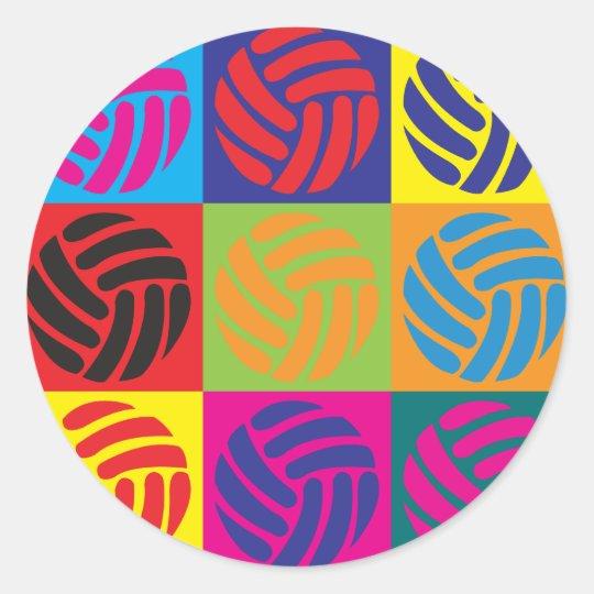 Volleyball Pop Art Round Sticker