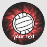 Volleyball; Red Round Sticker