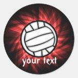 Volleyball; Red Round Sticker