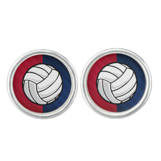 Volleyball; Red, White, and Blue Cuff Links
