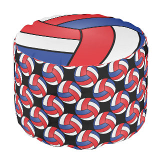 Volleyball Red, White, Blue and Black Pattern Pouf