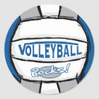 Volleyball Rocks Blue and Silver Classic Round Sticker