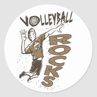 Volleyball Rocks Brown Stickers