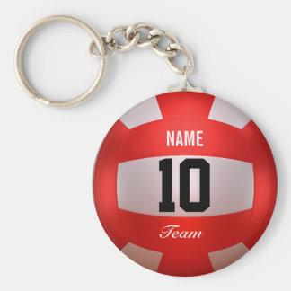 Volleyball rouge fait sur commande porte-clé rond