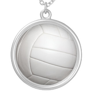 volleyball round pendant necklace