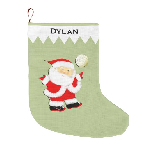 Volleyball Santa Large Christmas Stocking