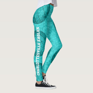 volleyball silhouettes digital art boho pattern leggings