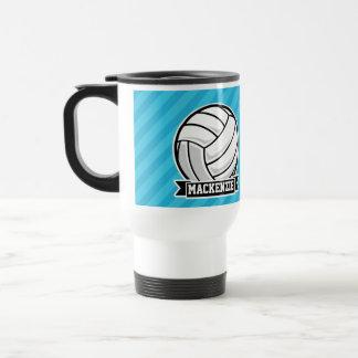 Volleyball; Sky Blue Stripes 15 Oz Stainless Steel Travel Mug
