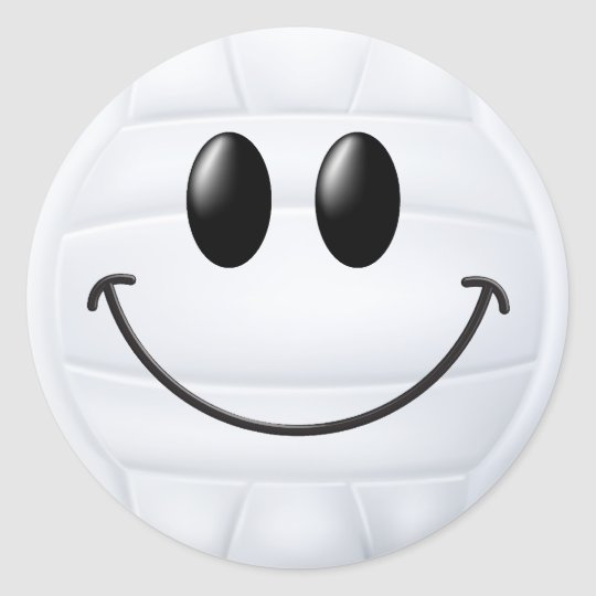 Volleyball Smiley Face Classic Round Sticker