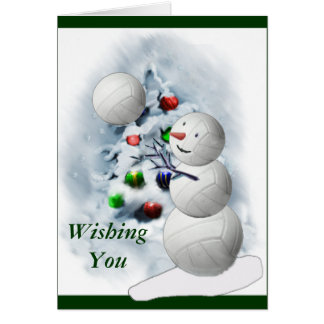 Volleyball Snowman Christmas Card