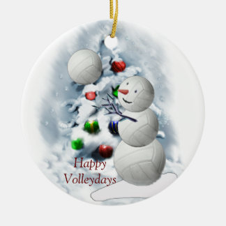 Volleyball Snowman Christmas Round Ceramic Ornament