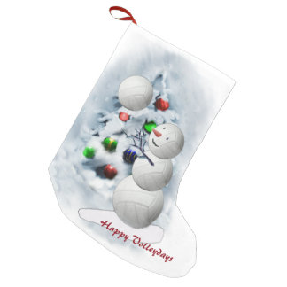 Volleyball Snowman Christmas Small Christmas Stocking