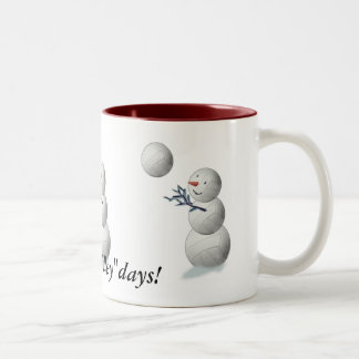 Volleyball Snowman Christmas Two-Tone Coffee Mug