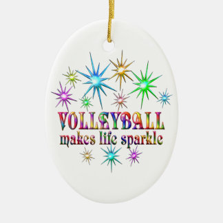 Volleyball Sparkles Ceramic Ornament