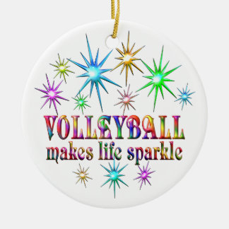 Volleyball Sparkles Round Ceramic Ornament