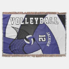 Volleyball Sport Ball in Dark Blue, White & Black Throw Blanket