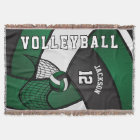 Volleyball Sport Ball in Dark Green, White & Black Throw Blanket