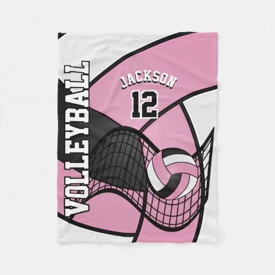 Volleyball Sport in Baby Pink, White & Black Fleece Blanket