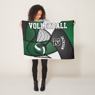 Volleyball Sport in Dark Green, White & Black Fleece Blanket