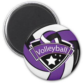 Volleyball Star Player - Purple, White and Black 2 Inch Round Magnet